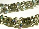 Dazzling signed Lisner smokey topaz glass and aurora borealis bracelet