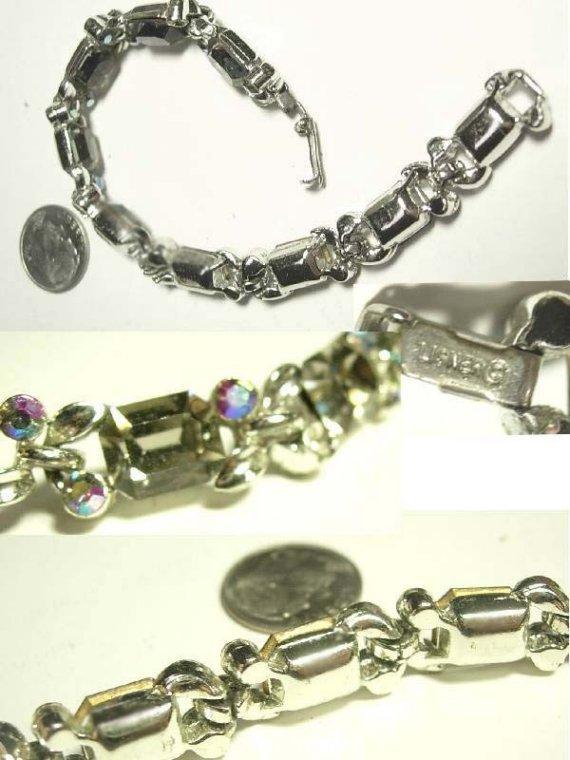Dazzling signed Lisner smokey topaz glass and aurora borealis bracelet
