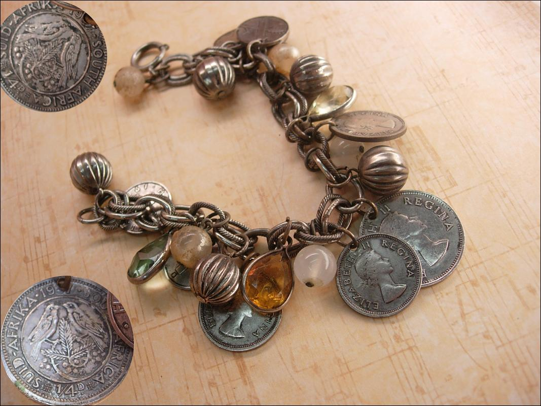 Vintage chunky Charm bracelet South african and Sweden coins and baubles