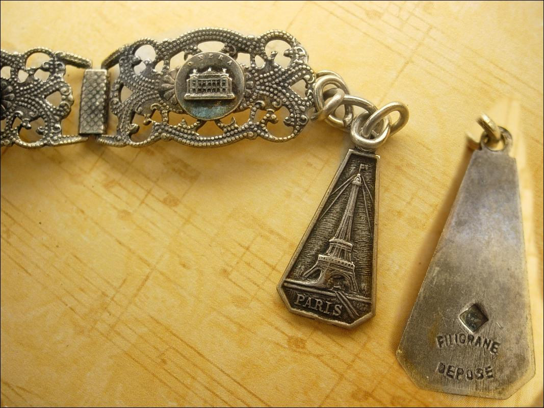 Vintage French Depose Deco sterling Paris fob Bracelet hinged tourist bracelet Eiffel tower fob