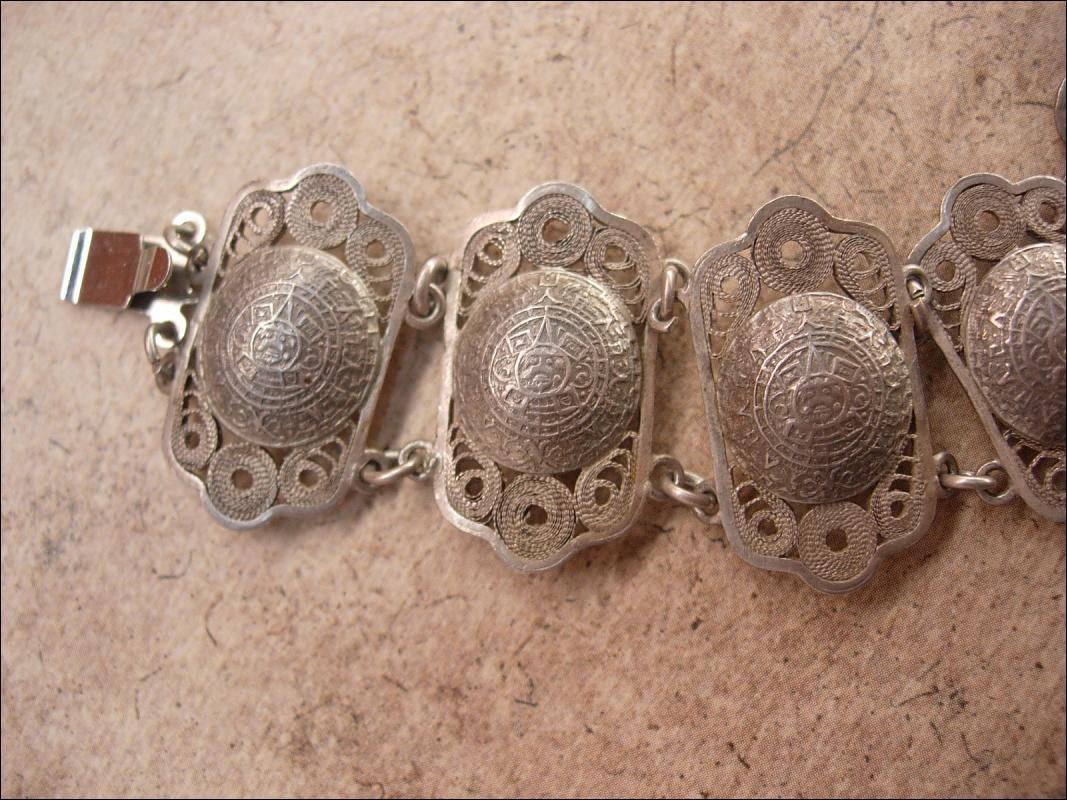 Vintage sterling bracelet enamel European blue silver filigree celestial design
