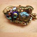 Gorgeous Vintage HAR Enamel Rhinestone Dragon brooch HUGE aurora borealis stones