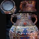 Large ANtique Chinese Champleve Enamel Vase Elephant handles Urn with jewels