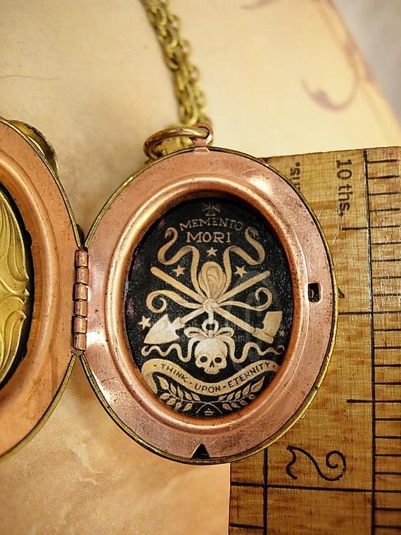 Devil talisman tooth locket bizarre watch chain skull necklace