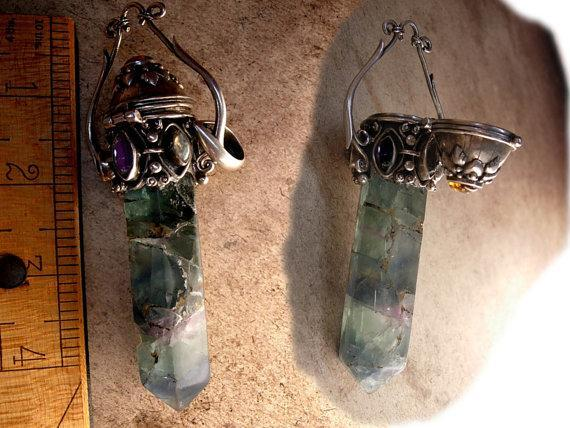 HUGE Healing wand Mystical green amethyst sterling Poison pendant Gemstones OOAK and labradorite and amethyst and more