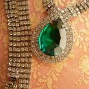 VIntage Dramatic HUGE Rhinestone drop necklace hundreds of rhinestones Faux Emerald