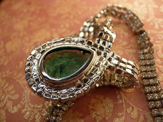 VIntage Dramatic HUGE Rhinestone drop necklace hundreds of rhinestones Faux Emerald