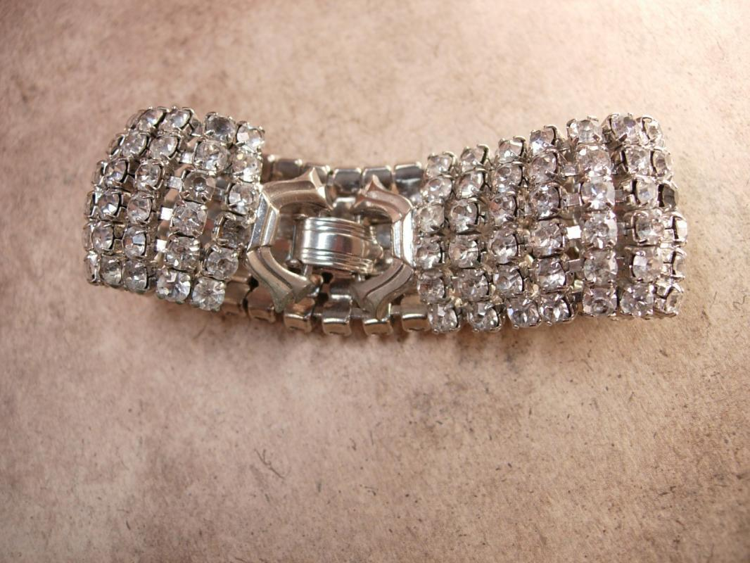 Vintage 6 Row WEISS Rhinestone Bracelet Signed Wide wedding bracelet PURE Glam