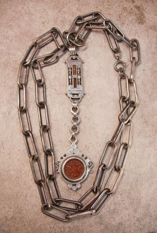 Antique VIctorian Watch FOB Necklace Fancy Goldstone with intricate setting
