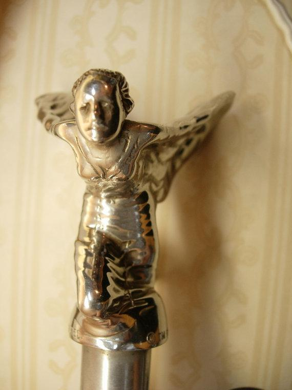 Vintage Rolls Royce Hood ornament Spirit of Ecstasy Flying Lady nouveau winged woman