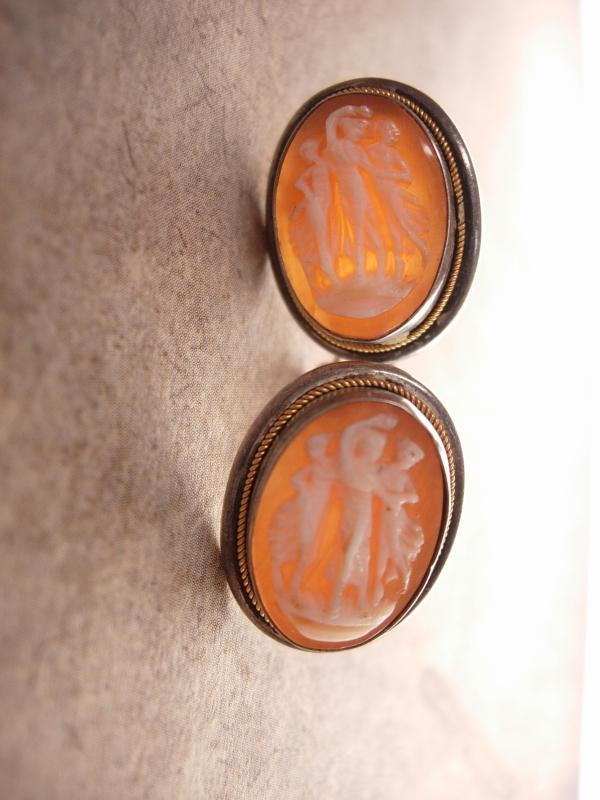 Antique 3 Graces Cameo earrings Sterling Screw on carved figural Neoclassical