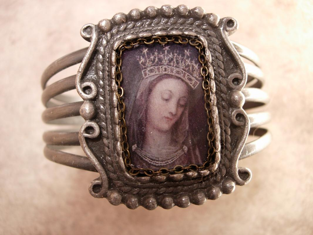 Vintage Madonna Bracelet Holy card devotional Religious Assemblage Gunmetal cuff