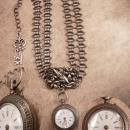 Antique sterling Pocketwatch Bookchain necklace Double strand highly ornate