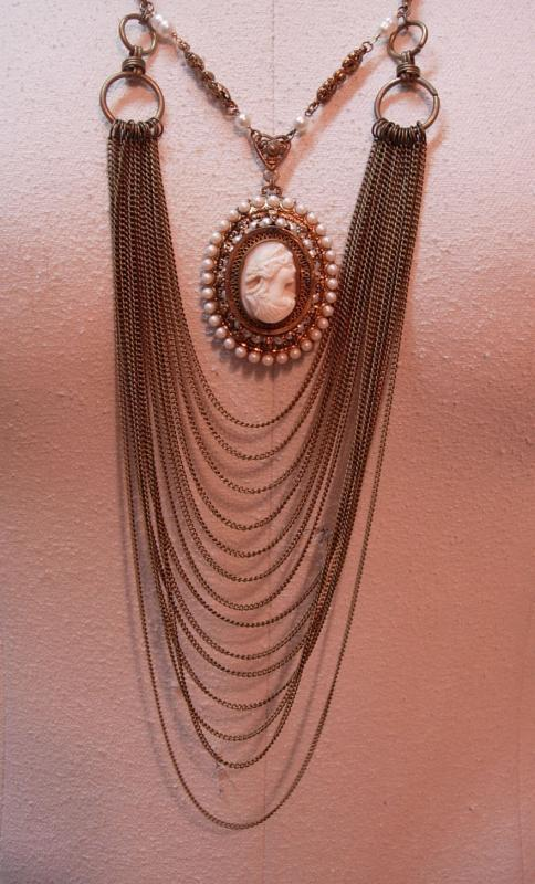 Vintage Angel Skin Coral Cameo Necklace genuine pearls Huge statement piece