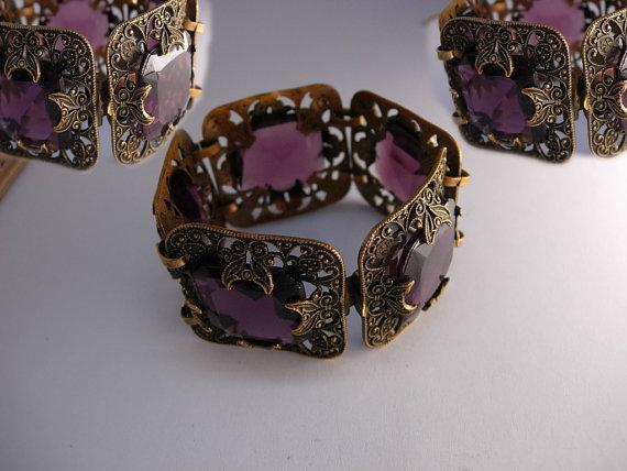 STUNNING Antique Amethyst Glass Victorian moon bracelet Wide ornate links