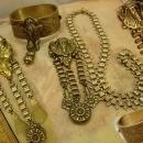 VIntage bookchain bracelet Necklace Art Deco Egyptian Revival Pharaoh parure and fur clip