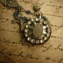 Rosary necklace Holy water perfume saint medal rhinestone necklace sacred heart