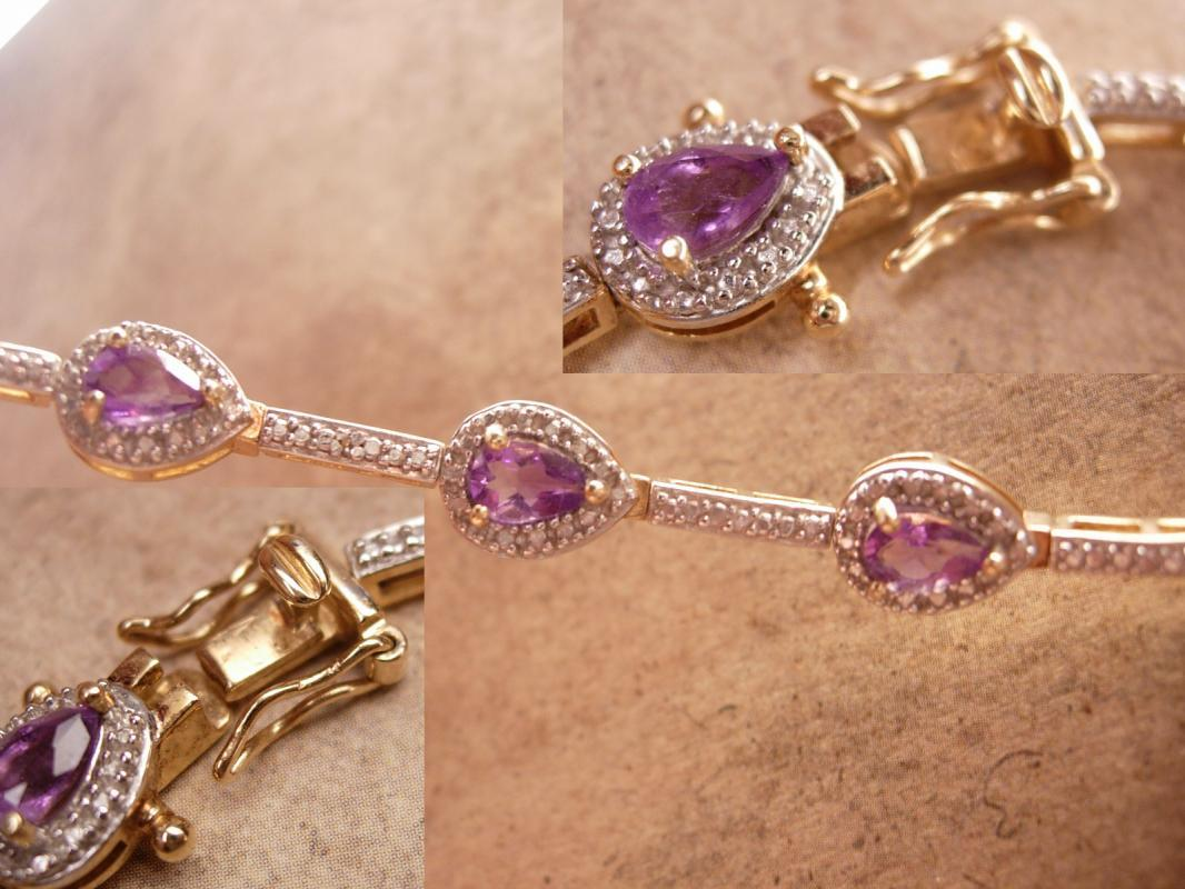 Genuine Amethyst Pave Bracelet Gold and sterling