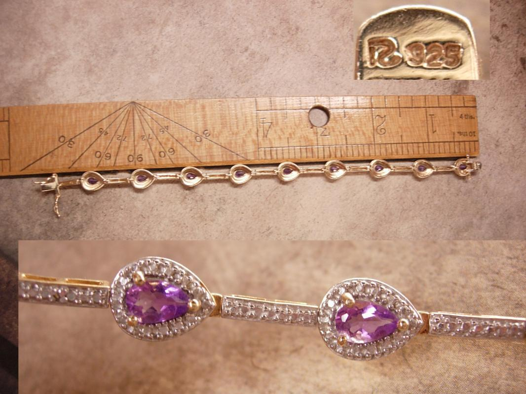Genuine Amethyst Pave Bracelet Gold and sterling