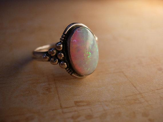 LARGE Stone Opal Modernist Ring Gorgeous colors