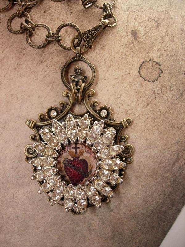 Gothic Sacred Heart Necklace pendant in paste rhinestones and cherub top