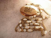 Vintage Chinese Dragon Locket MOP necklace