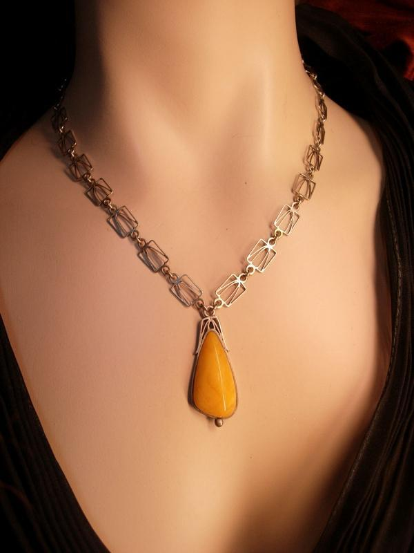 Antique Austro Hungarian amber necklace Butterscotch pendant hallmarked silver and signed