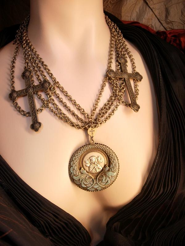 Gothic Rosary Necklace Medieval Cross with festoon swags HUGE Madonna necklace