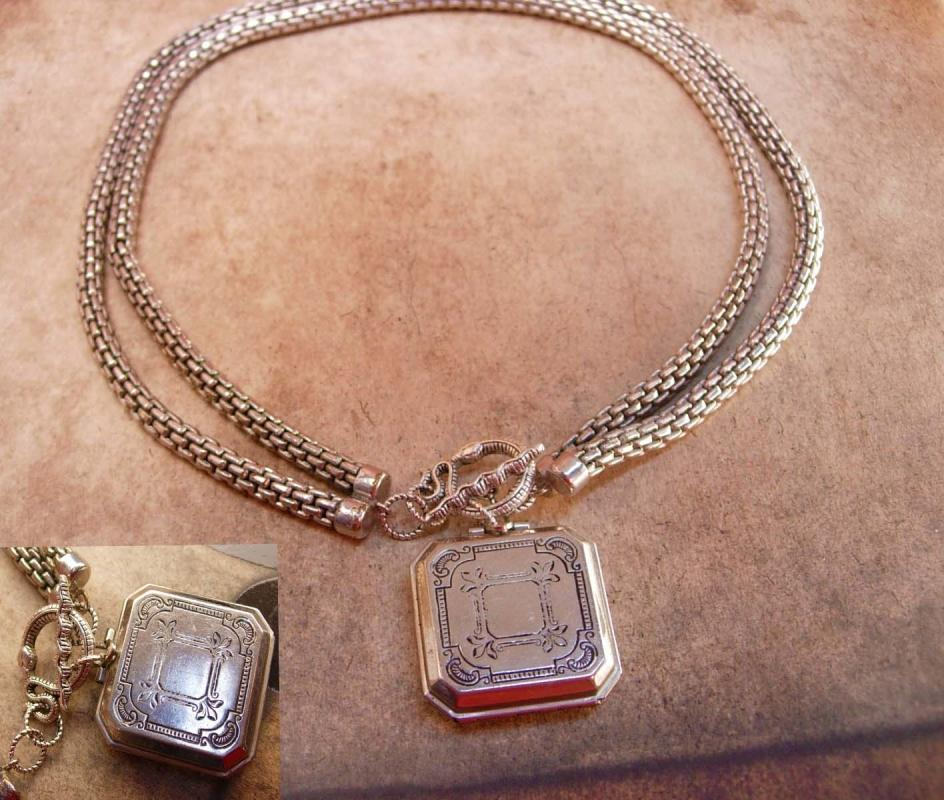 Vintage Coro 4 fold locket necklace heavy snake chain and Snake Clasp