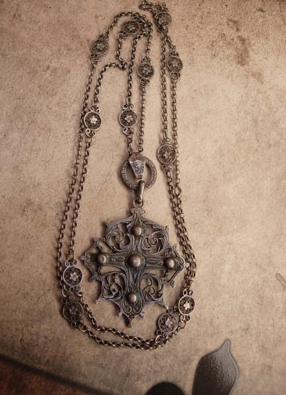 Vintage Sterling Peruzzi Gothic Cross necklace Long ornate silver chain signed medieval cross pendant