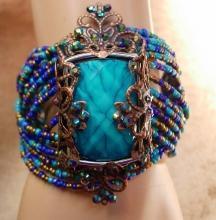 Gypsy Turquoise WIDE cuff bracelet beaded bohemian rhinestones