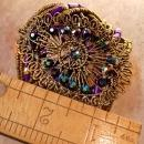 Bohemian WIDE Peacock Cuff Bracelet Filigree and rhinestones deco style