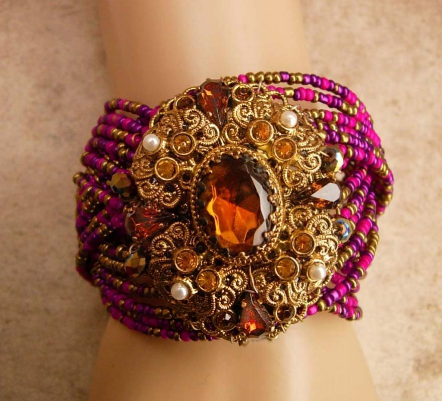 Rhapsody In PINK German czech HUGE bracelet Jeweled baroque cuff