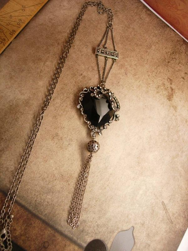 Gothic Black Heart Rosary necklace with tassel in gunmetal