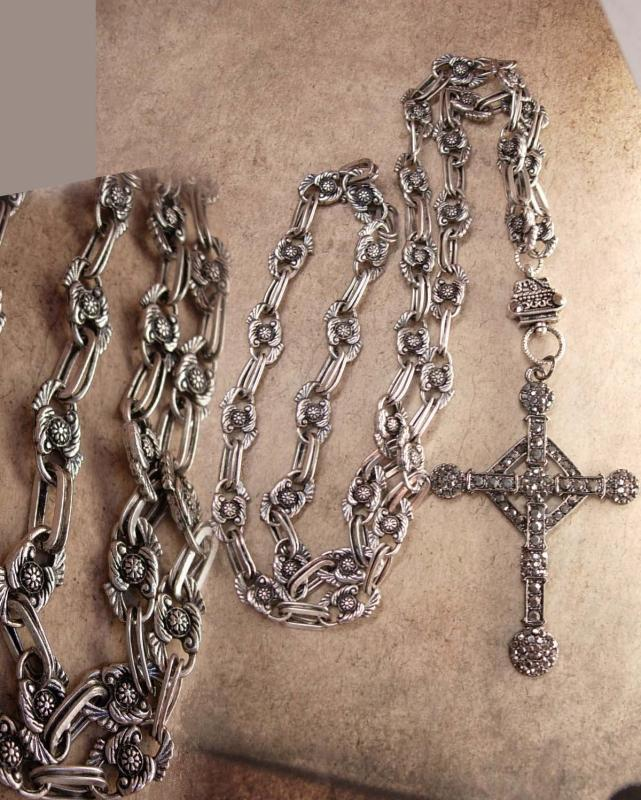 HUGE Gothic marcasite Cross necklace Elaborate nouveau style chain