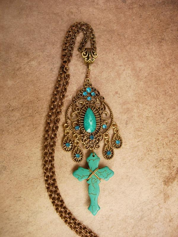 Bohemian Cross necklace Tuquoise carved gothic cross with victorian filigree