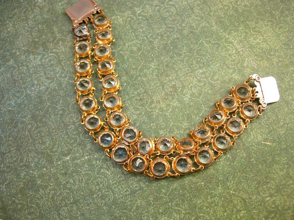 Antique Art deco Glass Open back bracelet Clear faceted jewels