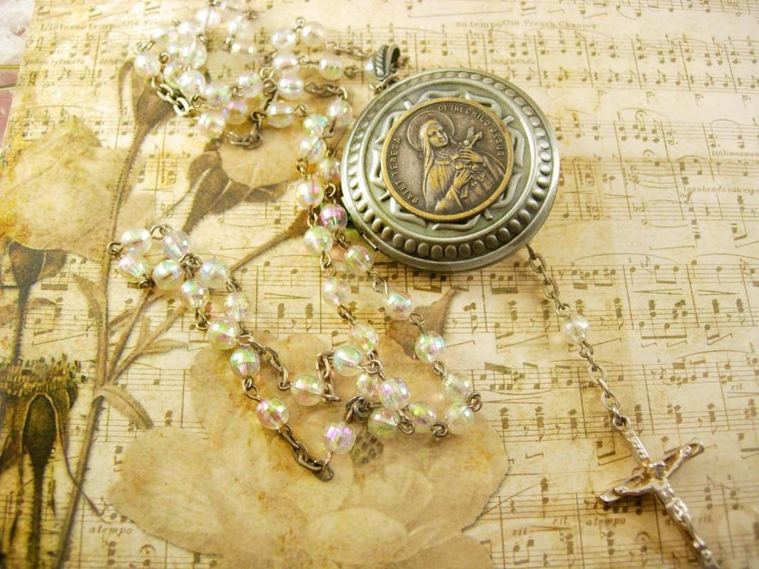 Faith Saint Teresa Pocketwatch Locket rosary necklace