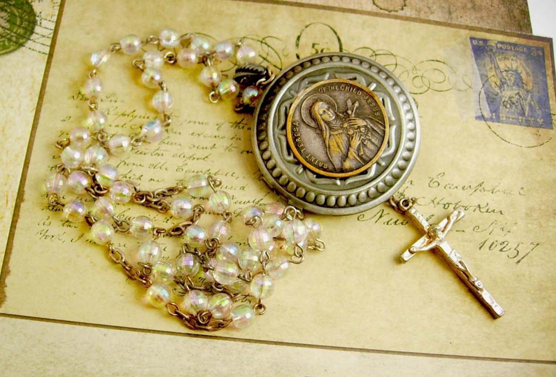 Faith Saint Teresa Pocketwatch Locket rosary necklace