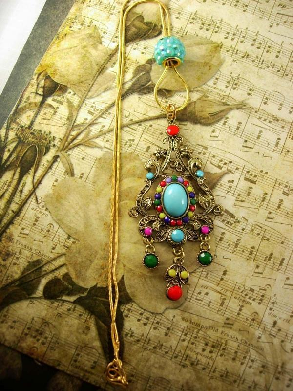 Bohemian Chandelier Drop Slide necklace Turquoise Red Purple