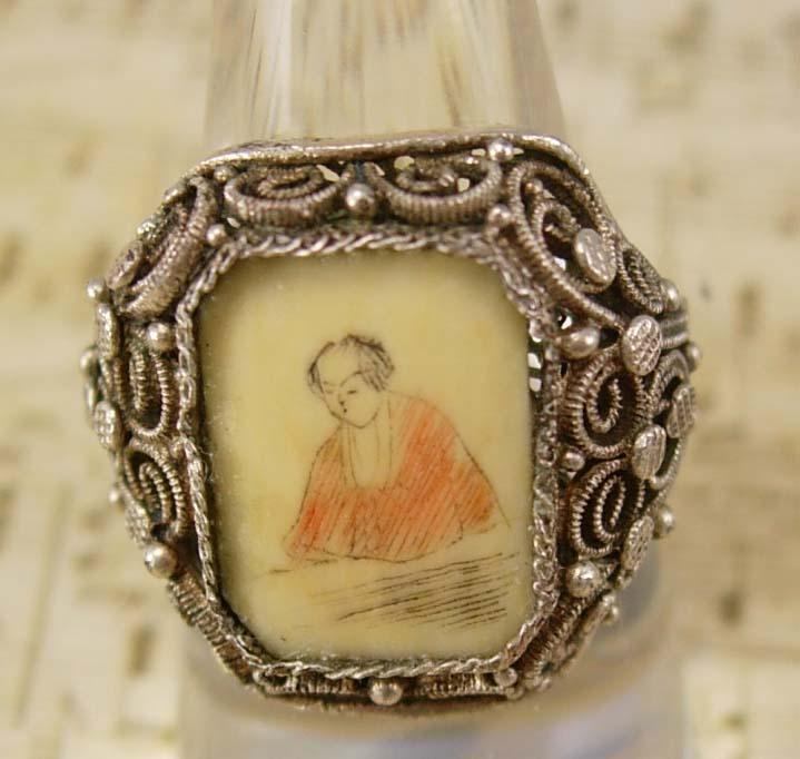 ANtique Chinese Carved Ivory Silver Emperor RING