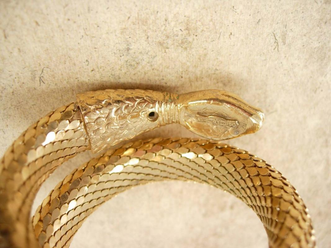 Vintage Signed Whiting and Davis Snake bracelet wide mesh bangle