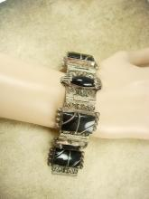 Vintage Nouveau sterling Bracelet Gorgeous metal work hinged signed black onyx Etruscan work
