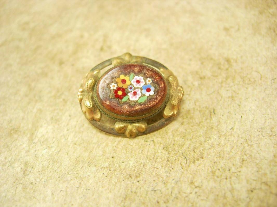 Antique Victorian Micromosaic Brooch Goldstone flowers with fancy metalwork