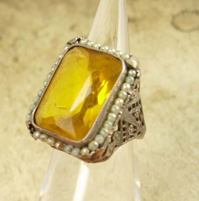 Large setting Antique Edwardian Citrine Pearl sterling ring Ornate filigree size 7