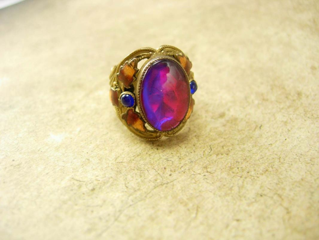 Antique Jelly Opal Chinese Enamel Ring Stunning colors Dragons breath stone