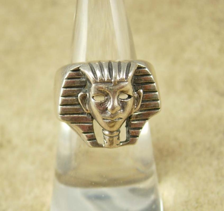 Vintage Sterling KIng Tut Ring Egyptian revival size 7 Pharaoh Cleopatra