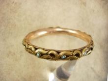 ANtique Bracelet Rose gold filled Turquoise Victorian bangle