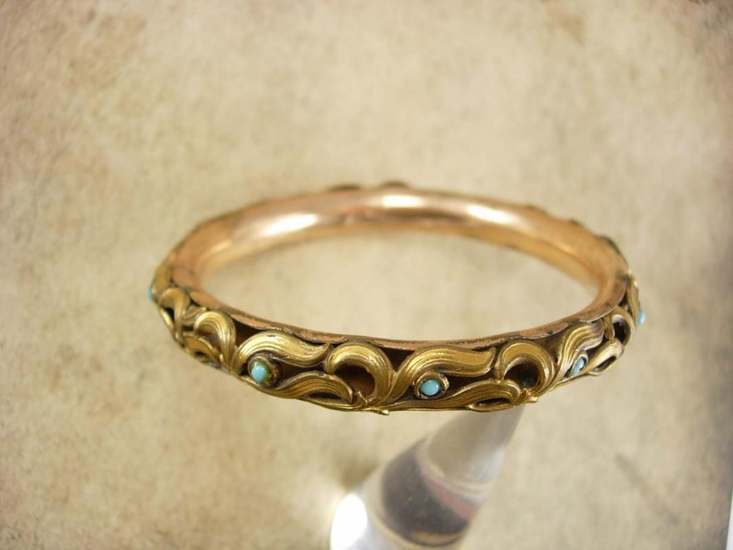 ANtique Bracelet Rose gold filled Turquoise Victorian bangle