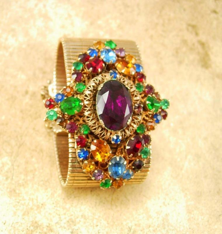 HUGE Vintage Rhinestone bracelet wide golden band and PURPLE rhinestone center